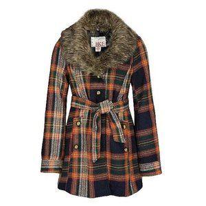 BKE Vintage Style Wool Plaid/Faux Fur Pea Coat